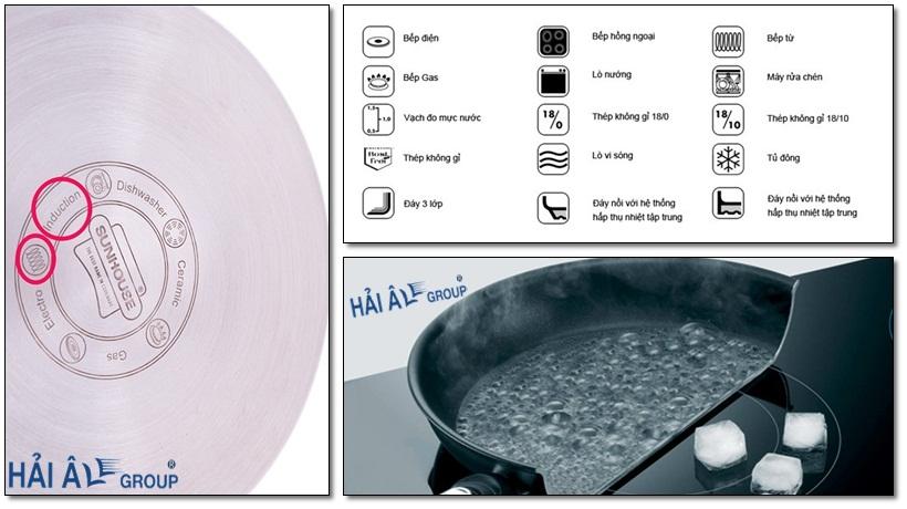 những báo hiệu cho dụng cụ sử dụng được với bếp từ công nghiệp